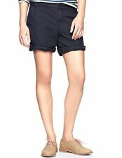 Khakis by Gap NEW Womens 00 Navy blue Boyfriend Roll Up Shorts pocket button