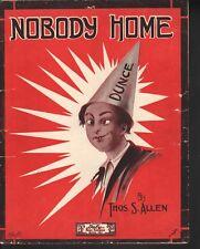 Nobody Home 1915 Large Format Sheet Music