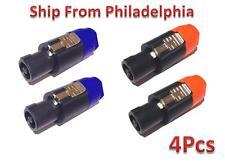 4pcs 4-Pin 4-Pole Speaker Conductor Male Audio Plug Speakon Connector Adapter