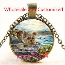 Yorkshire Terrier Cabochon bronze Glass Chain Pendant Necklace TS-4856