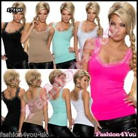 Lace Top Sexy Womens Ladies Fit Summer Party Casual Vest Top ONE SIZE 6,8,10 UK