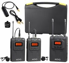 Movo WMIC80 UHF Wireless Lavalier Microphone System 2 TX / 1 RX for DSLR Camera