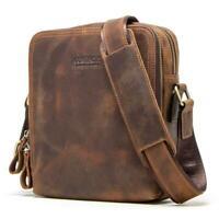 Mens Messenger Bag Genuine Leather Vintage Shoulder Crossbody Pack 7.9inch iPad