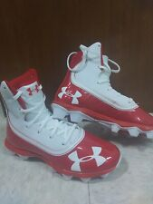 Under Armour Kids' Highlight Rm Jr. Football Cleats, Red/white