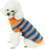Heavy Cable Knit Striped Fashion Polo Designer Pet Dog Sweater Clothes