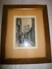 Ancienne gravure originale de Lucien Gautier Paris rue animée 1913