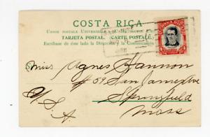 1908 Costa Rica stamp cover, picture postcard, market
