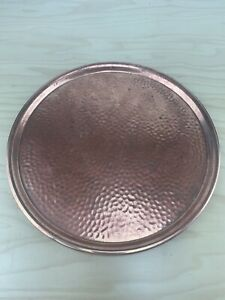 Vintage Solid Hammered Finish Copper Tray 10.75'' Round.
