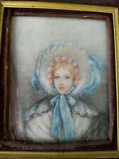Miniature Portrait Young Woman Hat Antique 19th Century Ormalu Filigree Frame
