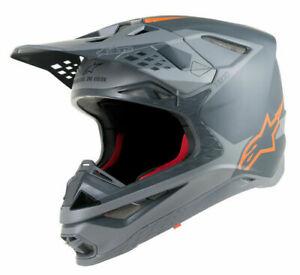 New Alpinestars SM10 Supertech M10 Carbon MX Helmet Anthracite / Gray / Orange