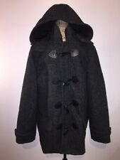Express Men's Large Hooded Wool Blend Toggle Top Coat Marled Black NEW w/ Tag