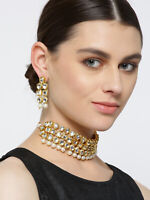 Indian Wedding Bridal Jewelry Gold Plated Choker Necklace Set Pearl Drop Kundan