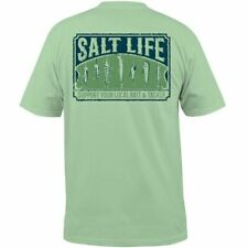 Salt Life Mens Fishing Bait And Tackle Pistachio Green Lure Print T Shirt Large