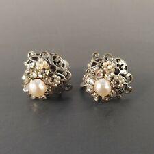 Vintage MIRIAM HASKELL Silver Toned Pearl & Rhinestone Filigree Clip-On Earings