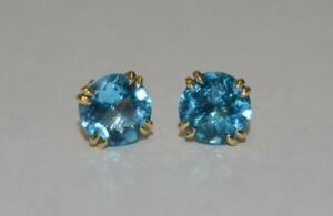 14K EFFY BH Huge Checkerboard Blue Topaz Stud Earrings