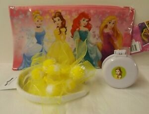 Disney Princess Belle theme gift set - make-up bag with yellow hair accessories