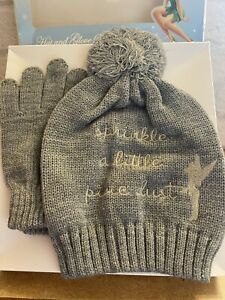 Disney Grey Cute Tinkerbell Hat And Glove Set New In Box Sun City / Gift Xmas