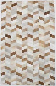 Brown Geometric Modern Cowhide Patchwork Print5X8 Oriental Area Rug New Carpet