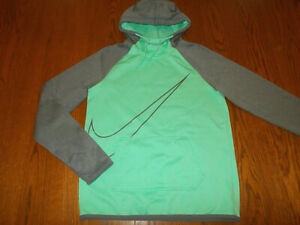 NIKE DRI-FIT GREEN & GRAY HOODED SWEATSHIRT WOMENS SMALL EXCELLENT CONDITION