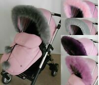 Pram hood fur trim My Babiie iCandy Silver Cross Bugaboo fit all pushchairs pink