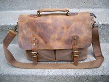 Lifewit Leather Brown Scholar Lawyer Messenger Cross Body Shoulder Bag Pack