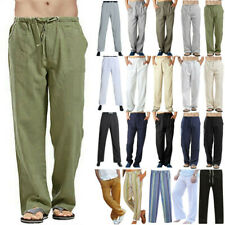 US Summer Men's Casual Cotton Linen Loose Trousers Long Baggy Beach Yoga Pants