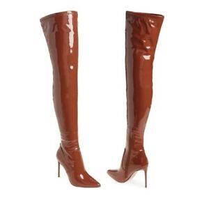 NEW Steve Madden Viktory Over the Knee / Thigh High Boot Brown Patent Leather 9