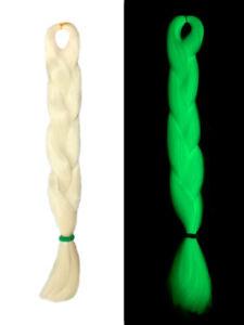 CyberloxShop Glow In The Dark UV Jumbo Braid Dreads Kanekalon Hair White
