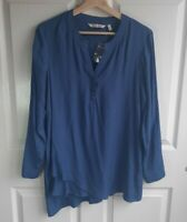 NWOT Soft Surroundings Womens Cadet Blue In The Study Tunic Shirt Top Size Small