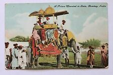 Old postcard A Prince Mounted In State, Bombay, India