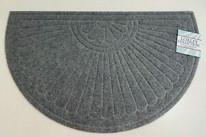 """Decorative Rubber Backed Door Mat, Half Round, 18"""" x 30"""" Loxley Collection"""