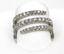 Bypass Round Diamond Cluster Pave Ring Band 18k White Gold 1.53Ct