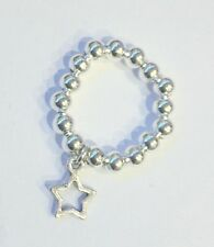 Silver Plated Ball Stretchy Star Ring Bijou Silver 5mm Ball Stacking Star Dangle