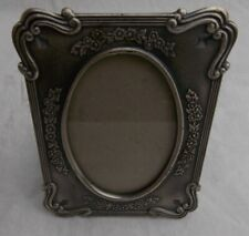 Vintage-style mini pewter picture frame with floral and scroll details