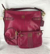New COACH Plum Leather Hobo Purse 16413 & Colette Wristlet 44757 Set $406 RARE