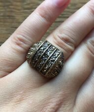 Striking Gold Tone Dome Ring/Statement Design/Rhinestone/Size O
