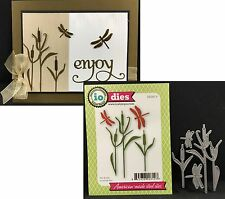 Cattails and dragonfly metal die set Impression Obsession dies Die087-P Insects