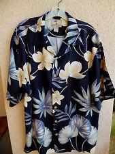 Jamaica Jaxx Silk Hawaiian Shirt Tropical Print in Black w/Tan & Soft Green  L