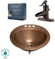 Copper Bathroom Sink Bell Kit All-In-One Ashfield Rustic Bronze Center Faucet