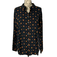 Free People Top NWOT Black & Orange Long Sleeve Button Up Blouse Size Small