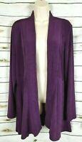 Chico's Travelers Purple Open Front Cardigan 3 Jacket XL Slinky Knit