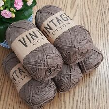 COTTON DOUBLE KNITTING WOOL / YARN 5 x 100g VINTAGE COTTON Brown