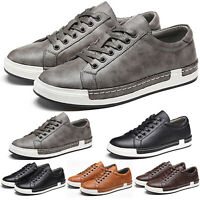 Men's Summer Casual Shoes Lace Up Sneakers Breathable Walking Synthetic Leather