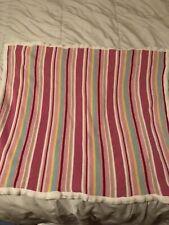 Hooray Cynthia Rowley Baby Blanket Cotton Knit Pink Blue Yellow Green Stripes