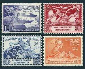 Falkland islands Dependencies 1L14-1L17, MH, UPU-75 1949 Plane Ship Globe