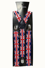 Union Jack Adjustable Braces Suspenders Unisex Fancy Dress Clip On Slim 2.5cm