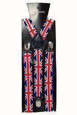 Union Jack Adjustable Braces Suspenders Unisex Fancy Dress Clip On Slim 2.5cm