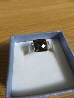 sterling silver gems smoky quartz square cut ring  TV size P