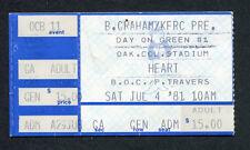 1981 Blizzard Of Ozz Concert Ticket Stub Randy Rhoads Day On The Green Heart BOC