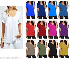 Waist Length Viscose V Neck Patternless T-Shirts for Women